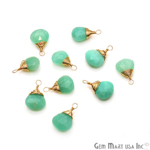 Chrysoprase Drop 18x12mm Gold Wire Wrapped Gemstone Connector - GemMartUSA