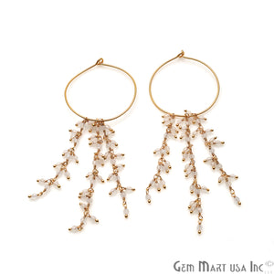 DIY Gemstone Gold Plated Hoop 36x31mm Beads Dangle Earrings (Pick Stone)