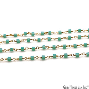 Dark Aqua Chalcedony Cube Faceted 2mm Gold Wire Wrapped Rosary Chain