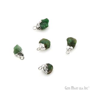 Chrome Diopside Gemstone 20x11mm Organic Silver Edged Connector