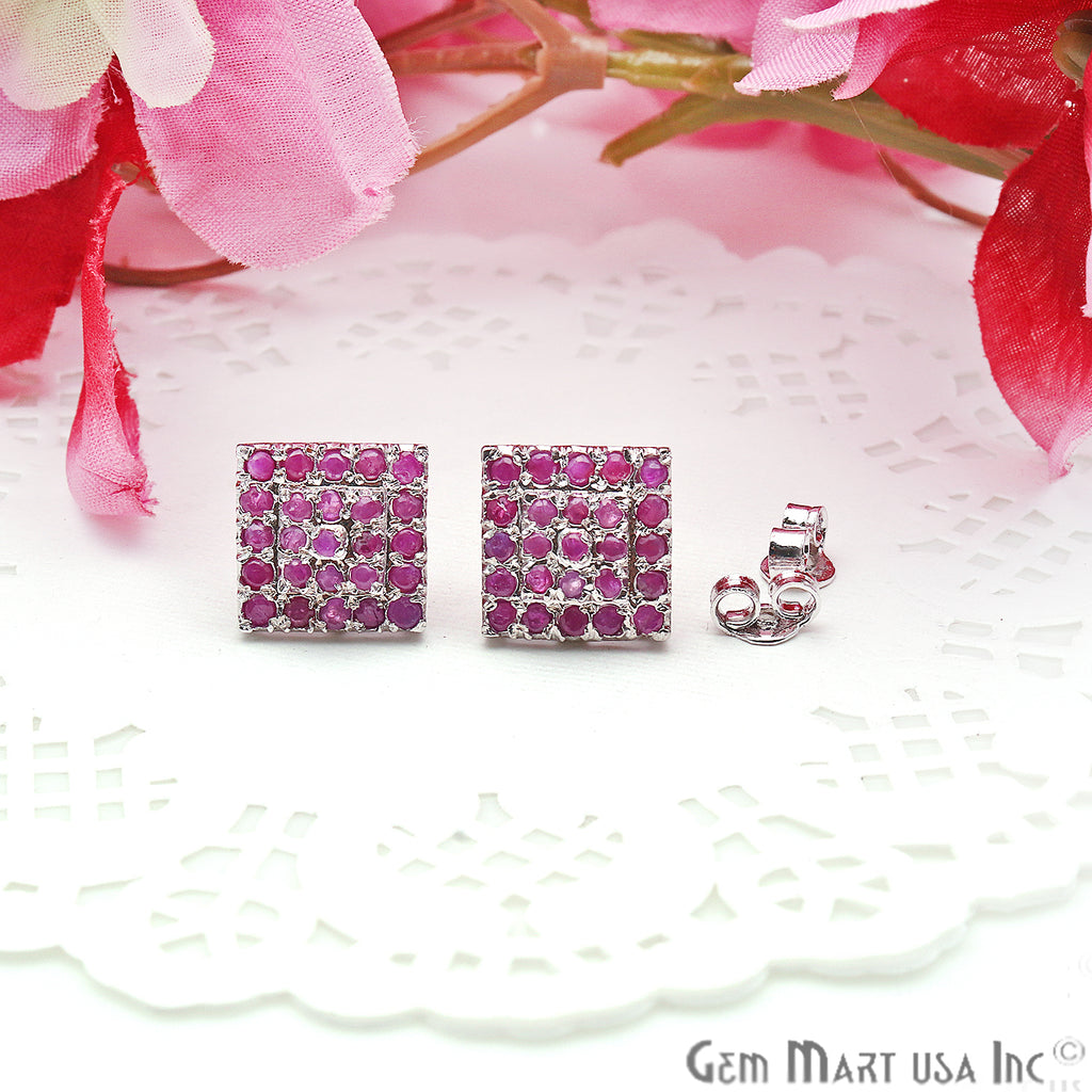 Ruby 12mm Sterling Silver Square Shape Stud Earring