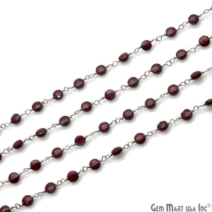 Red Garnet Faceted 3-4mm Silver Wire Wrapped Rosary Chain - GemMartUSA