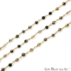 Brown Rutile Jade Faceted Beads 4mm Gold Plated Wire Wrapped Rosary Chain - GemMartUSA