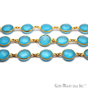 Sky Blue Chalcedony Round 12mm Gold Bezel Continuous Connector Chain