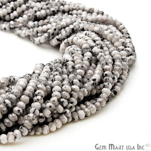Dendrite Opal Jade 3-4mm Faceted Rondelle Beads Strands 14Inch