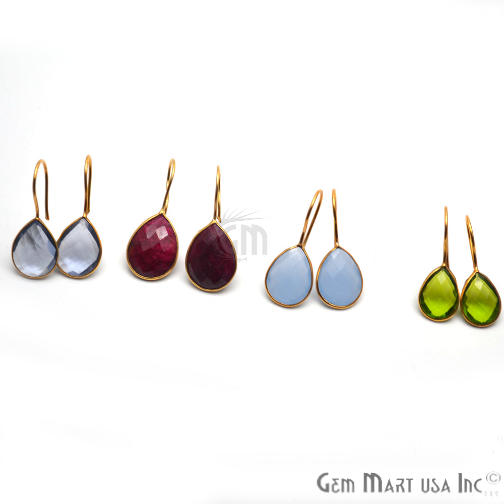Pear Shape 17x13mm Gold Plated Gemstone Hook Earrings (Pick your Gemstone) (90203-1)