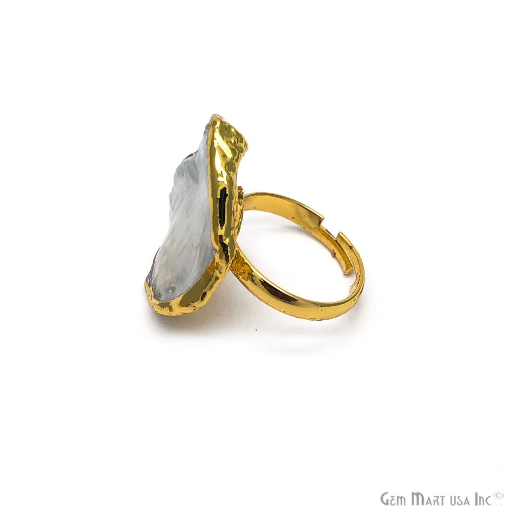 Natural Pearl Gemstone Gold edge Adjustable Ring