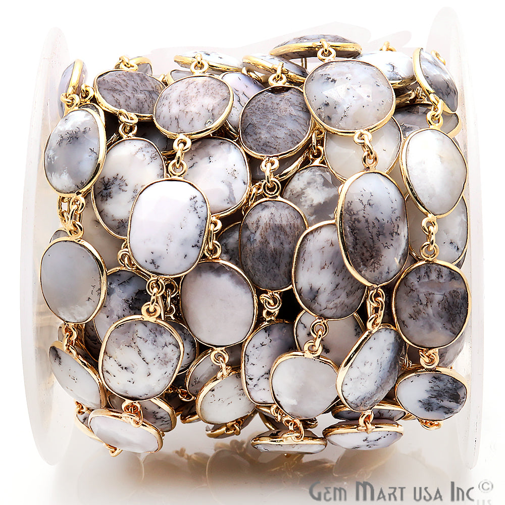 Dendrite Opal Mix Shape Bezel Link Gold Plated Continuous Connector Chain