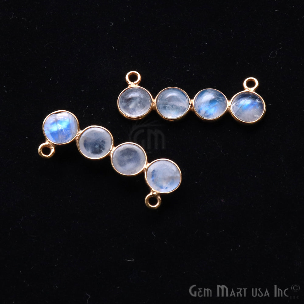 DIY Rainbow Moonstone 28x10mm Double Bail Chandelier Finding Component (Pick Your Metal)