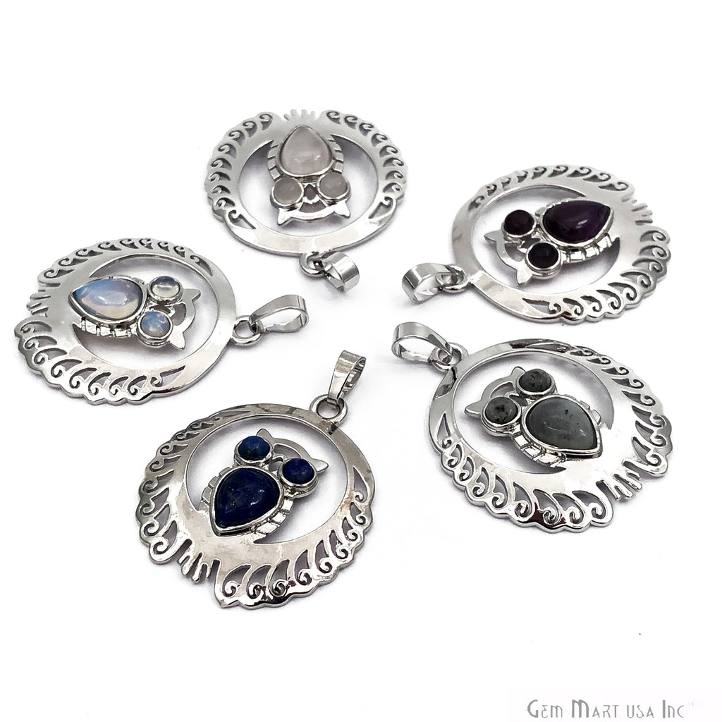 DIY Silver Plated Owl Gemstone Necklace Pendant (Pick Your Gemstone)