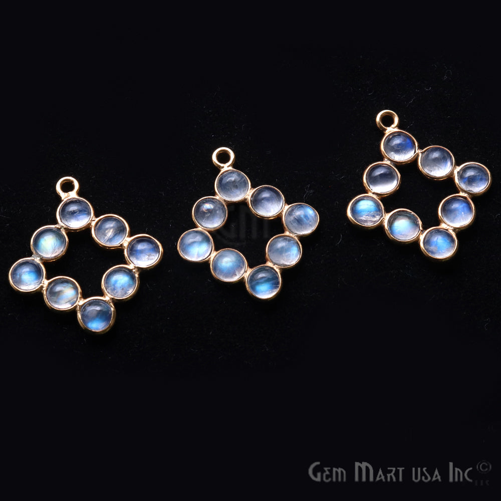 DIY Rainbow Moonstone 21x15mm Single Bail Finding Component (Pick Your Metal)