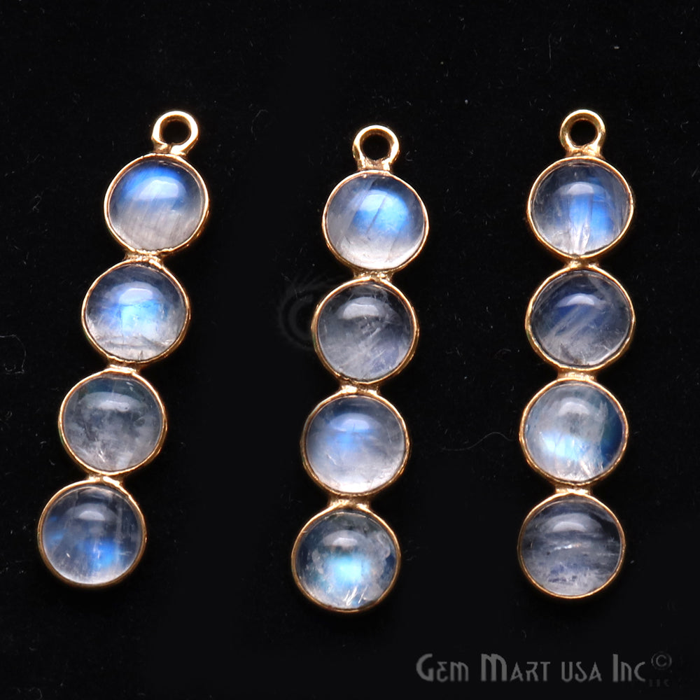 DIY Rainbow Moonstone 31x7mm Gold Plated Chandelier Finding Component