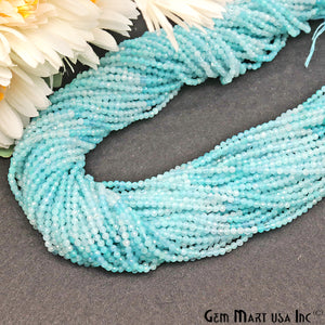 Shaded Aquamarine 2-2.5mm Faceted Round Rondelle Strand Beads - GemMartUSA