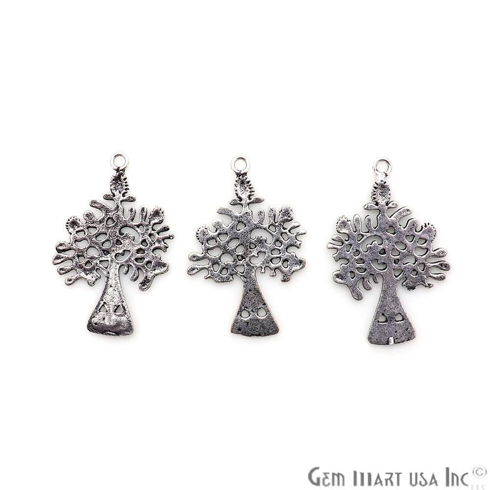 Tree Shape Oxidized 33x22mm Charm For Bracelets & Pendants