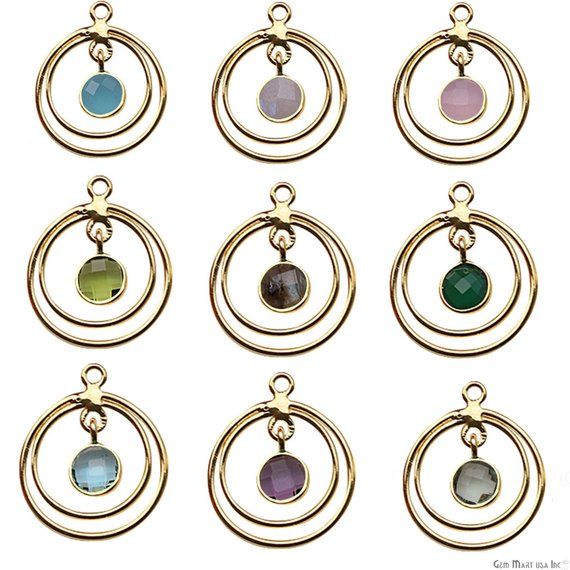 DIY Gemstone Gold Hoop Chandelier Finding Connector - 1pc (Pick Your Gemstone)