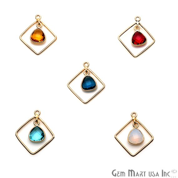 DIY Gemstone Gold Square Chandelier Finding Connector - 1pc (Pick Your Gemstone)