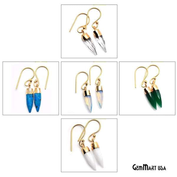 Pencil Shape 24x6mm Gold Plated Gemstone Dangle Hook Earring Choose Your Style (90154-1)