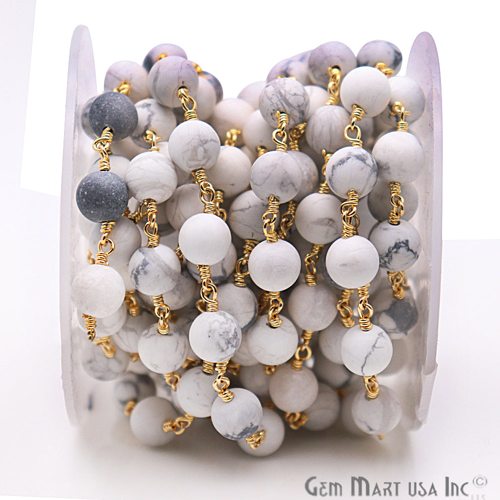Howlite Frosted Gold Plated Wire Wrap Round Bead Jewelry Making Rosary Chain