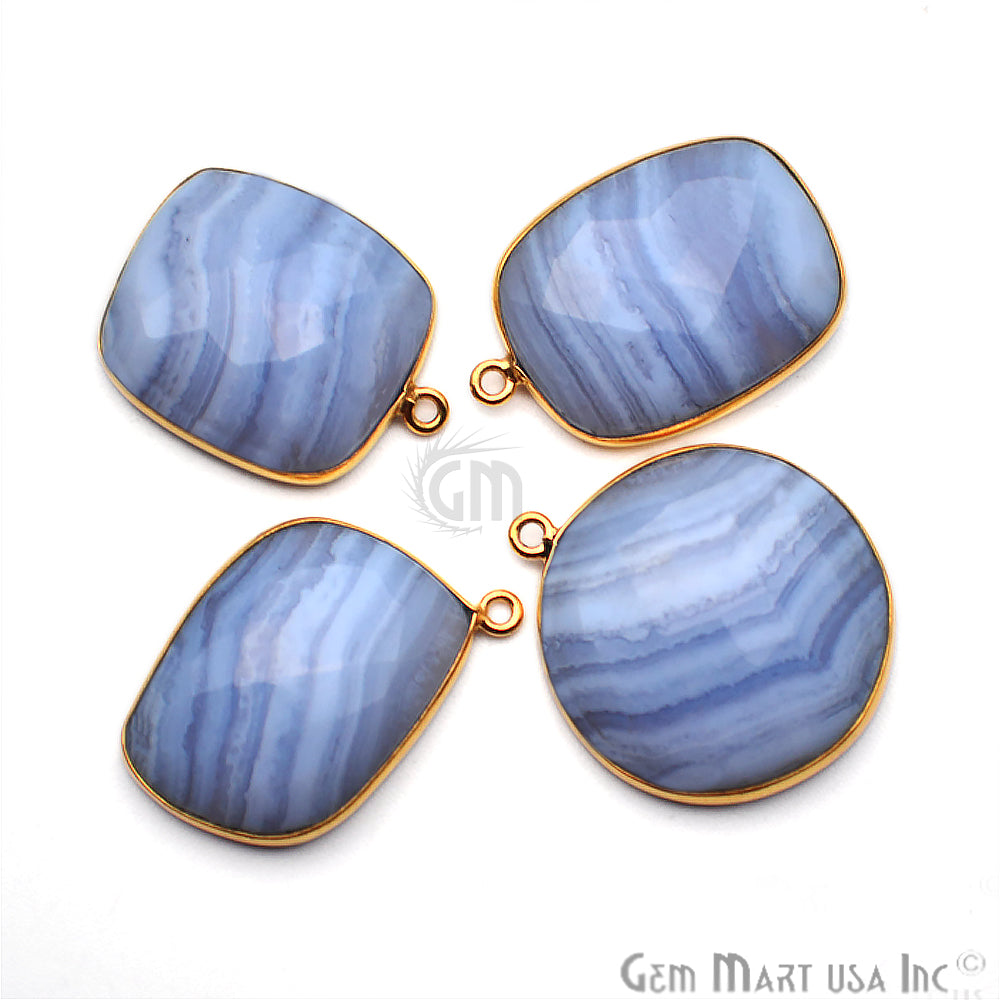 4pc Lot Blue Lace Agate Gold Plated Single Bail Bezel Connector