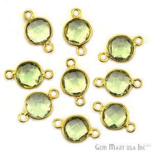 GPZG-40002 GemMartUSA Gold Bail Connector 12x16mm Oval Connector Jewelry Making Supply Gold Pave Connector Green Druzy Connector