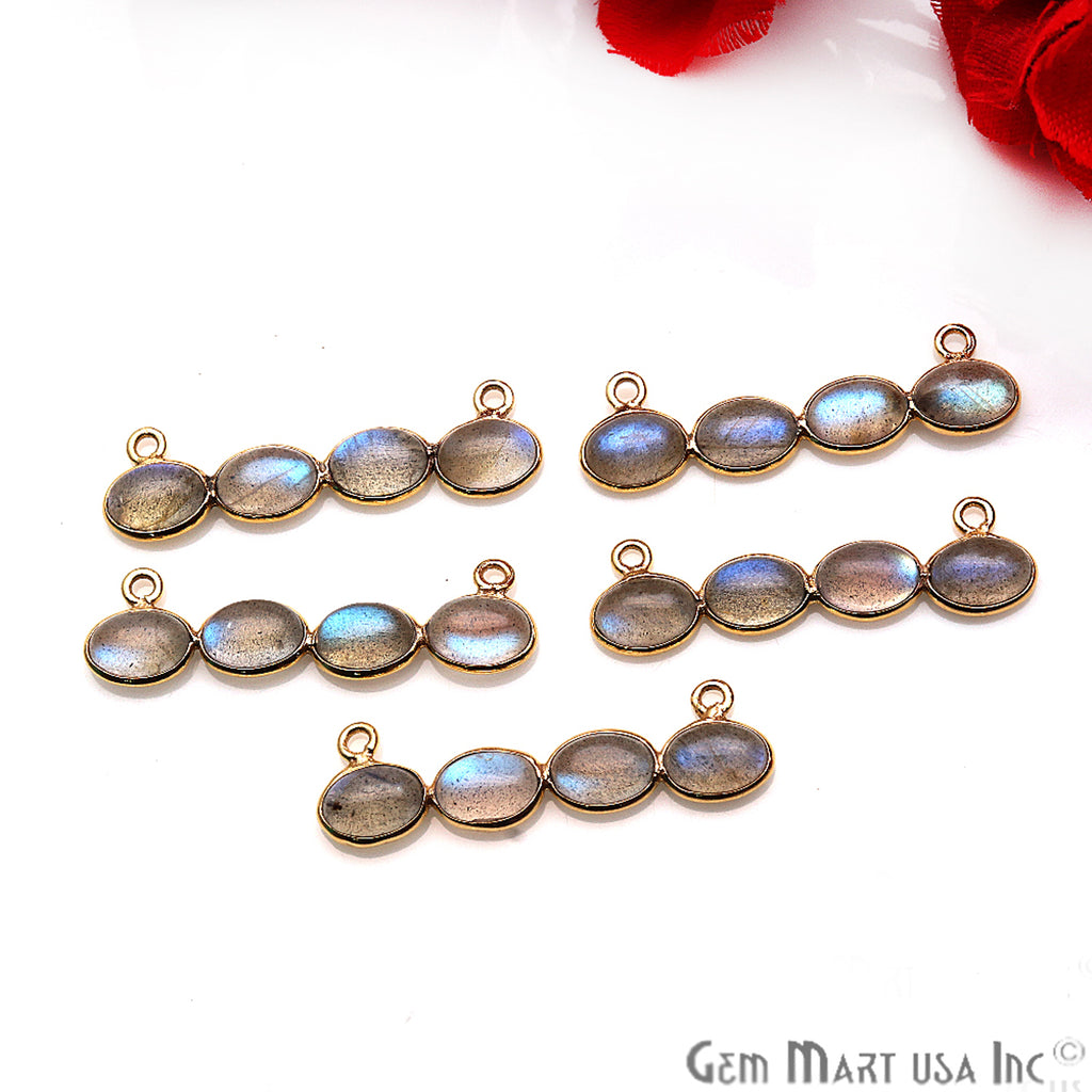DIY, Labradorite Gold Plated 31X9mm Line Shape Chandelier Finding Component