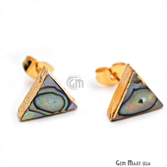 Abalone 10mm Triangle Shape Gold Electroplated Gemstone Shell Studs (AB-90001)