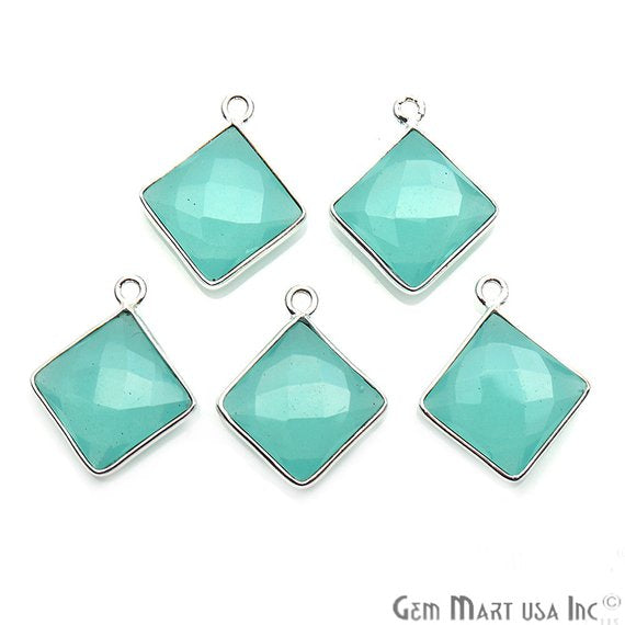 Aqua Chalcedony, Gemstone Connector, Connector Charm, Silver Bail, Square 10mm (AD-10235)