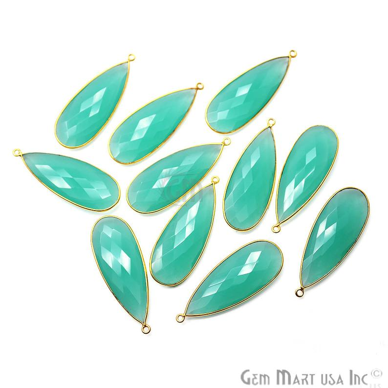 Aqua Chalcedony 44x16mm Gold Plated Single Bail Connector