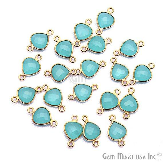 Heart Shape 8mm Aqua Chalcedony Gold Plated Bezel Connector (Pick your Bail) (AD-10376-1)