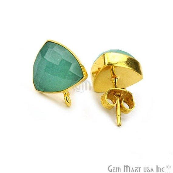 Trillion Shape 10mm Gold Plated Loop Connector Gemstone Stud Earrings 1Pair (Pick your Gemstone)