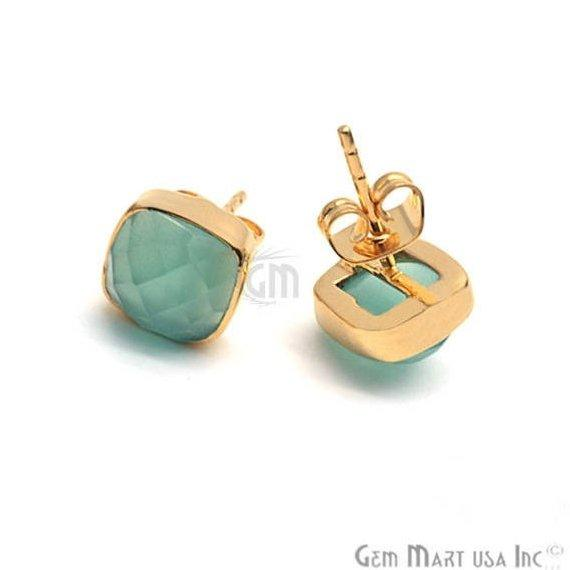 Cushion Shape 8mm Gold Plated Gemstone Stud Earrings (Pick your Gemstone) (90020-1)