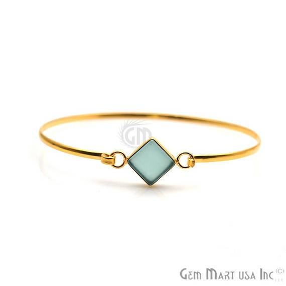 Gold Plated 10mm Square Shape Handmade Adjustable Stacking Bangle Bracelet (19052-1)