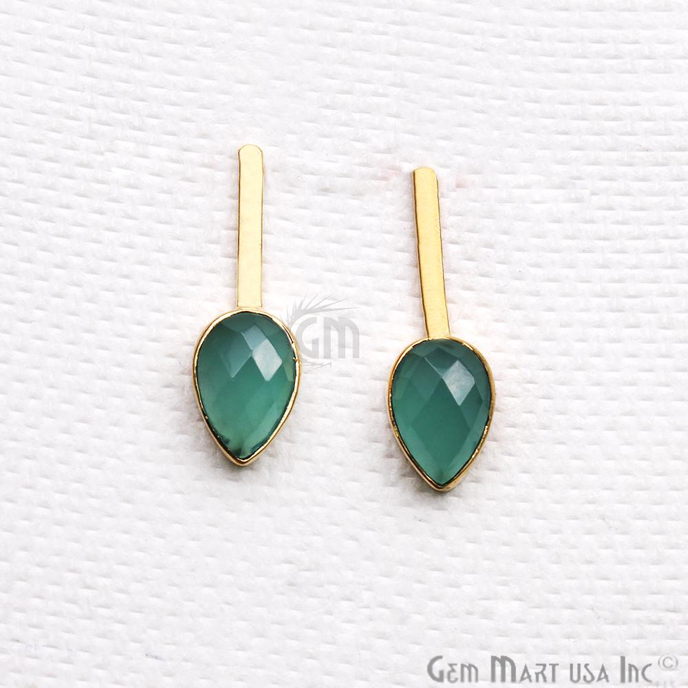 Pear Shape 9x27mm Gold Plated Gemstone Dangle Stud Earrings (Pick your Gemstone) (90174-1)