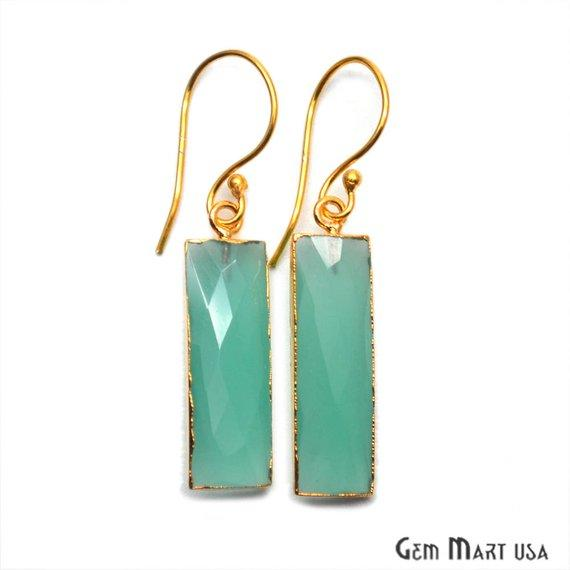 gemstone gold hook earrings
