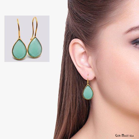 aqua chalcedony gold hook earring
