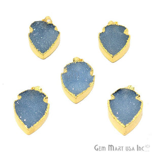 Light Iolite Druzy 29x15mm Gold Edged Arrow Heads Pendant