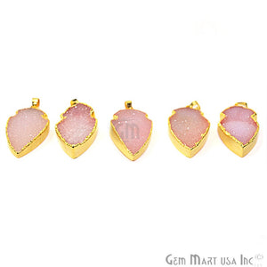 Peach Druzy Arrow Heads 28x15mm Gold Electroplated Pendant