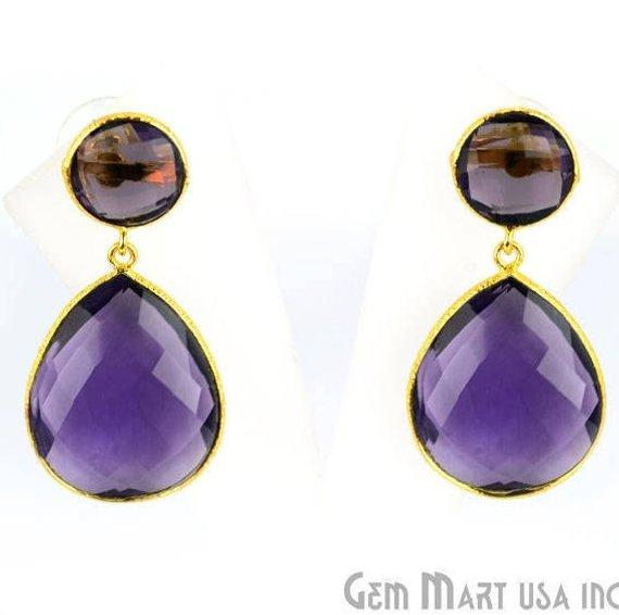 Pear and Round Shape 21x46mm Gold Plated Gemstone Dangle Studs (Pick your Gemstone) (90014-1)
