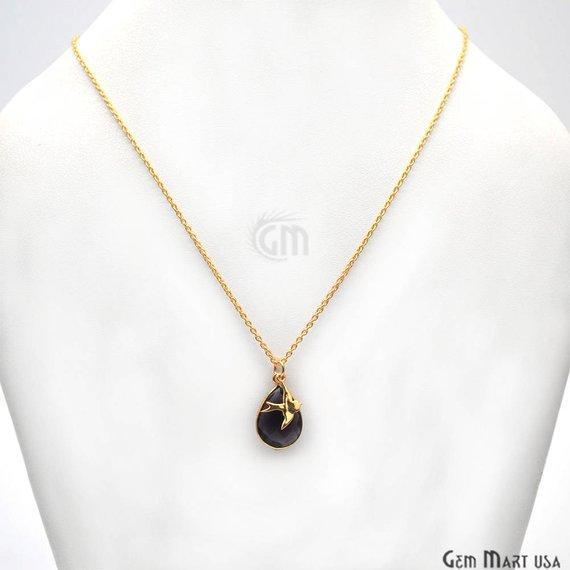 Pear Shape 16x11mm Gold Plated 18 Inch Long Necklace Chain with Bird Charm (Pick your Gemstone)