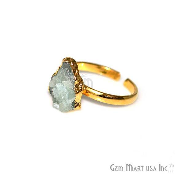 Gold Plated Rough Gemstone Adjustable Band Ring (12019)