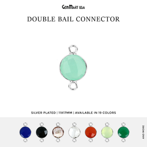 Round 10mm Double Bail Silver Plated Gemstone Bezel Connector