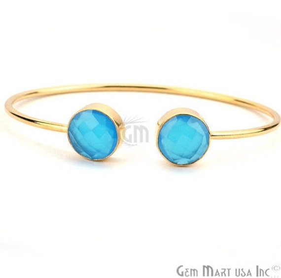 Double Gemstone 12mm Round Shape Gold Adjustable Bangle Bracelet (Choose Gemstone)