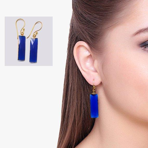 Rectangle Shape 9x30mm Gold Plated Gemstone Dangle Hook Earrings 1Pair (Pick your Gemstone)
