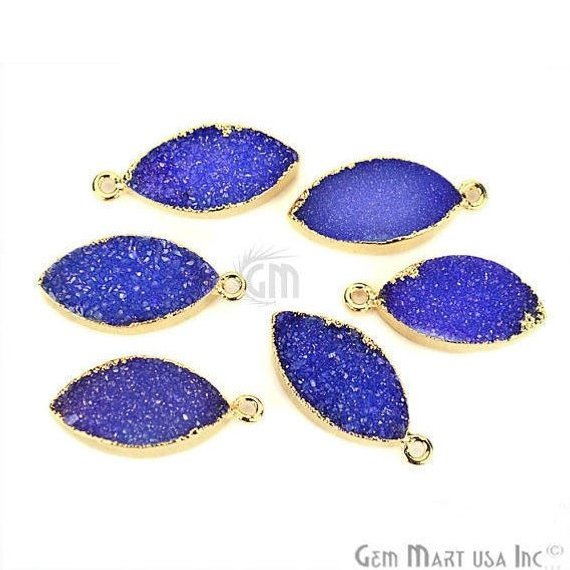 Gold Electroplated Druzy 10x20mm Marquise Shape Druzy Gemstone Connector (Pick Your Color, Bail)