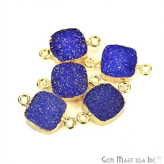 Gold Electroplated Druzy 10mm Square Shape Double Bail Druzy Gemstone Connector (Pick Your Color)