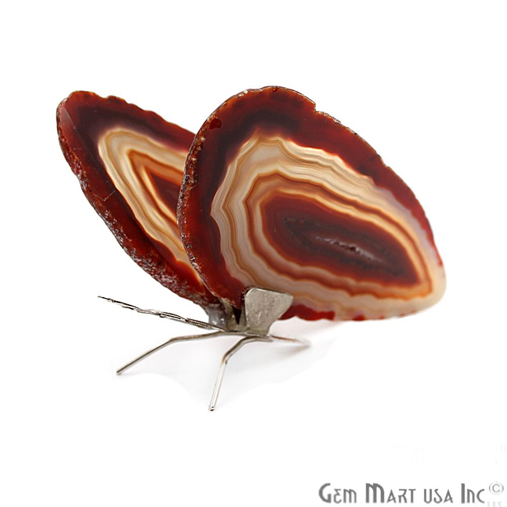 Red Agate Slice Butterfly, Home Decor, Boho Decor, Agate Slice, Butterfly Wings, Agate Geode, Gemstone Butterfly (BFLY-10000)