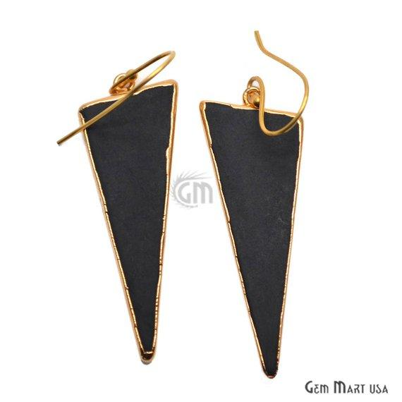 Black Copper Turquoise Sediment Jasper 50x19mm Tribal Trillion Gold Electroplated Hook Earring (BJER-90158)