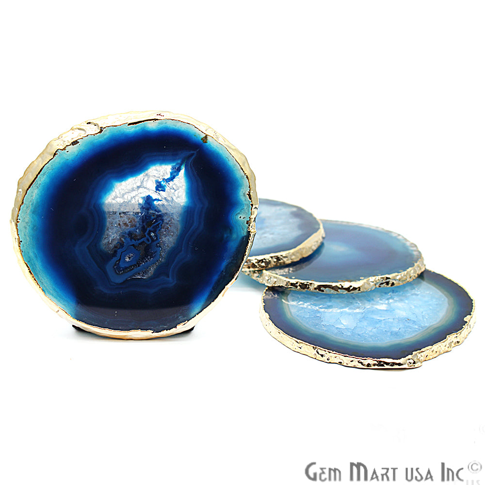 Blue Coaster, Agate Coaster, Coaster Set, Drinkware, Rock Coaster, Agate Slice, Drink Coasters (BLCO-58018)