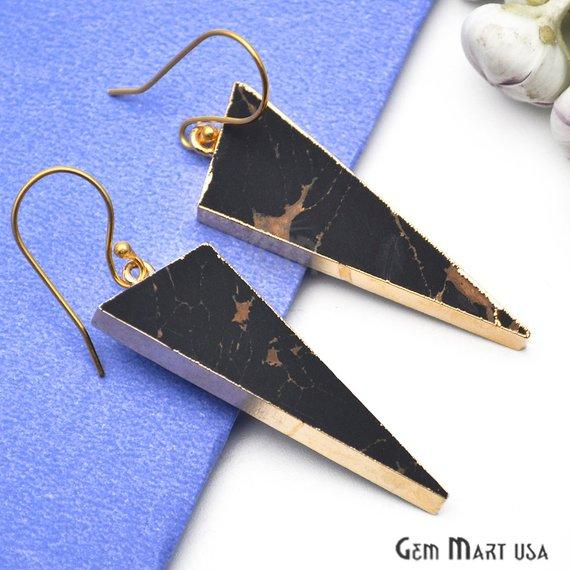 Triangle Shape 42x16mm Gold Plated Sediment Jasper Hook Earrings (Pick your Gemstone) (90159-1)