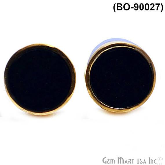 Gold Plated 8mm Round Gemstone Stud Earrings (90027)